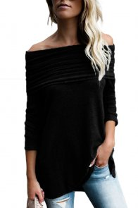 Black Ruched Off Shoulder Long Sleeve Top