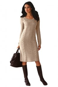 Khaki Women's Hand Knitted Sweater Dress