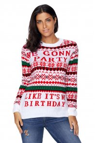 White WE GONNA PARTY Ugly Christmas Sweater