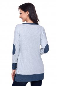 Grey Side Pocket Elbow Patch Colorblock Tunic