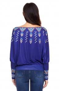 Royal Blue Printed Batwing Sleeve Skew Neck Blouse