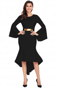 Black Bell Sleeve Dip Hem Belted Dress