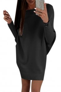 Black Stylish Long Sleeve Baggy Sweater Dress
