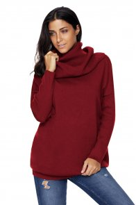 Burgundy Cozy Cowl Neck Long Sleeve Sweater