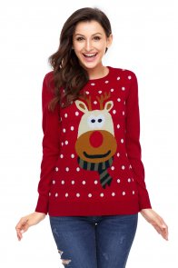 Red Christmas Reindeer Sweater