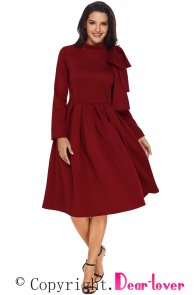Burgundy Bowknot Embellished Mock Neck Pocket Dress