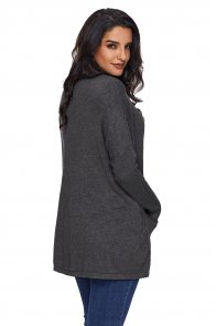 Charcoal Oversize Fit Pocket Sweater Tunic