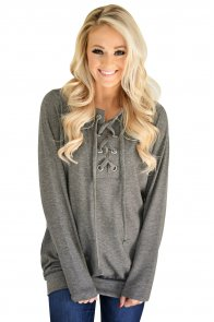 Gray Women's Lace up Sweatshirt Jumper
