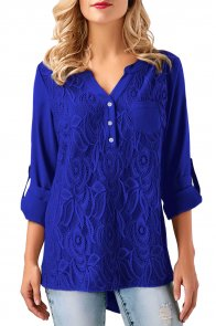 Blue Lace Panel Split Neck Roll Tab Sleeve Blouse