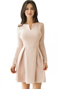 Pink Long Sleeve V Neck Pleated Skater Dress