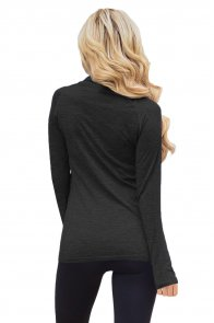 Black Zip up Long Sleeve Gym Yoga Top