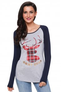Oh My Deer Plaid Christmas Reindeer Navy Sleeve Blouse