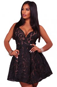 Black Rose Lace Illusion Sexy Skater Dress