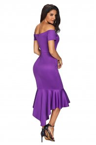 Purple Off Shoulder Short Sleeve Mermaid Dress