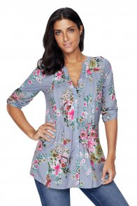 Gray V Neck Pleat Button Front Floral Tunic Top