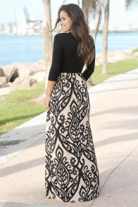 Black Taupe Printed Maxi Dress with Criss Cross Top