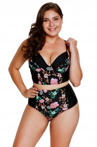 Delicate Floral Push Up High Waist Bikini Swimsuit