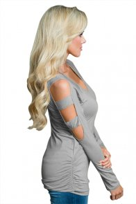Gray Cut out Open Shoulder Ruched Side Blouse
