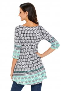 Mint Splice Accent Floral Elegant Long Top