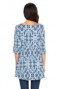Mint Navy Leafy Print Elegant Long Top