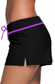 Violet Strap Trim Black Women Swim Boardshort