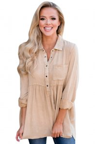Mineral Washed Button-up Babydoll Ruffle Top in Apricot