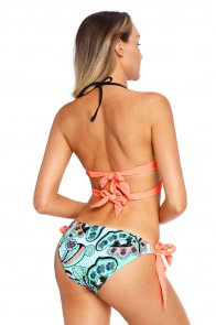 Coral Wrap Front Halter Bikini Tie Side Bottom Swimsuit
