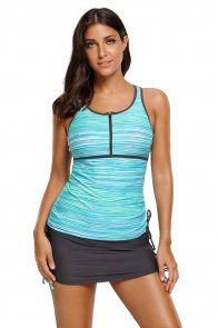 Greenish Filtered Stripe Mesh Racherback Tankini Swimsuit