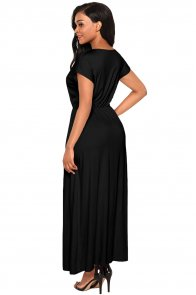 Black Crisscross V Neck Short Sleeve Maxi Jersey Dress