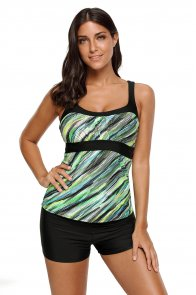 Army Green Abstract Printed Camisole Tankini Top