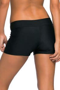 Black Wide Waistband Swimsuit Bottom Shorts