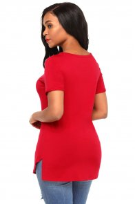 Red Asymmetric Split Detail One String Shirt
