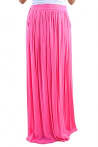 Rosy Elastic Waist Pleated Gauze Maxi Skirt with Lining