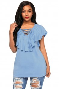 Light Blue Deep V Neck Lace up Ruffle Short Sleeves Top