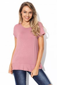 Pink Short Sleeve Top with Lace Back