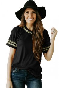 Black Embroidery Knit Top