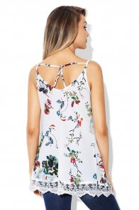 Lace Hem White Floral Strappy Cami Top