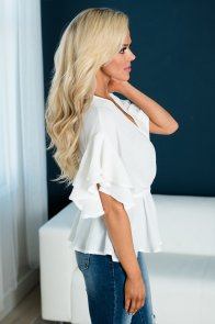 White Double Ruffle Surplice Wrapped Tie Top
