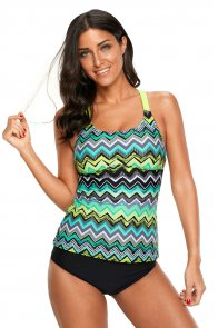 Green Yellow Zigzag Print Y Back Tankini Top