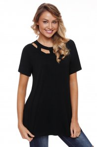 Black Short Sleeves Caged High Neck Top