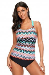 Coral Blue Zigzag Print Y Back Tankini Top
