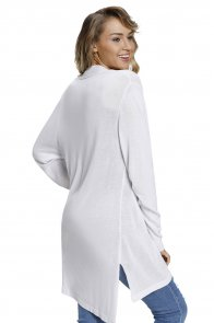 White Ribbed Open Front Long Sleeve Cardigan