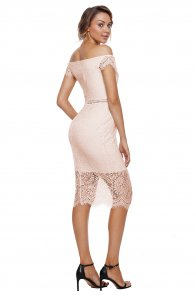 Apricot Lace Bardot Midi Dress