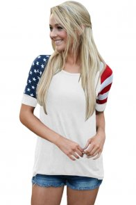 White Stars Stripes Short Sleeve Tee