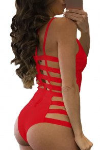 Red Strappy Cutout One Piece Bathing Suit