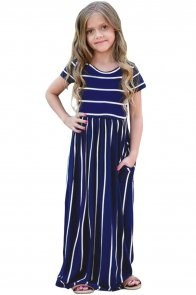 Navy Striped Short Sleeve Girl Maxi Dress