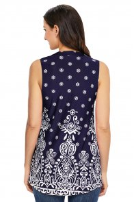 Navy Damask Print Ruched Tank Top
