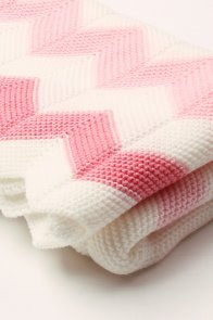 Pink White Wave Knitted Toddler Blanket
