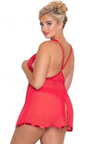 Red Plus Size Lace Mesh Babydoll Set