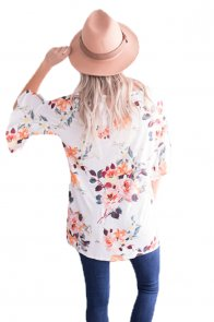 Mid Length Bell Sleeve White Coral Floral Blouse